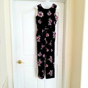 Floral V Back Jumpsuit NWOT